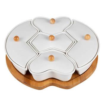 Biev - Sasha 5 Bölmeli Yuvarlak Kahvaltılık - Porselen & Bambu