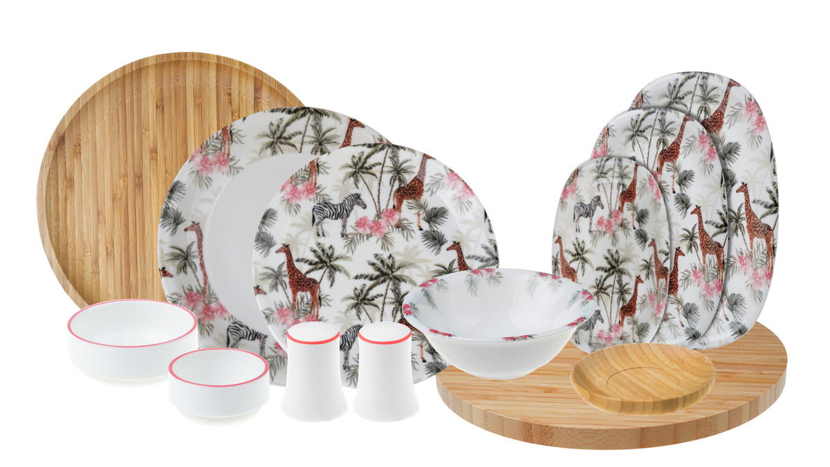 Savana - 44 Parça Bambu & Porselen Yemek ve Kahvaltı Takımı