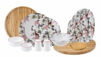 - Savana - 44 Parça Bambu & Porselen Yemek ve Kahvaltı Takımı