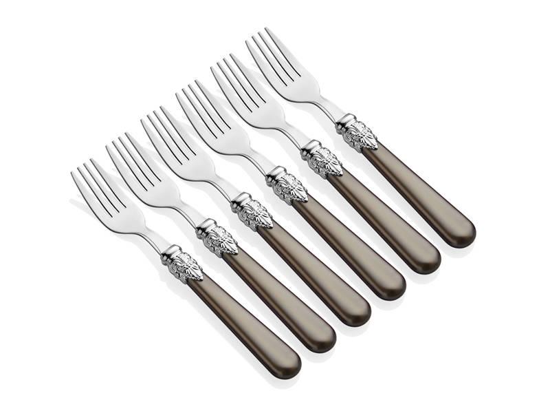Sedefli 6 Parça Tatlı Çatalı Takımı - Gri