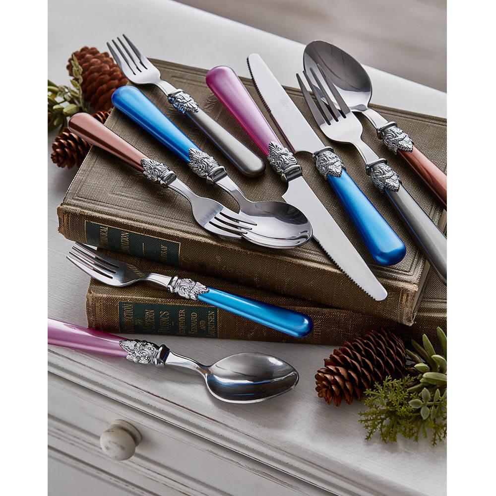 Sedefli Tek Kişilik Çatal Kaşık Bıçak Takımı - Mavi