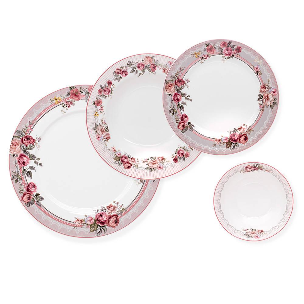 Segreto 6 Kişilik Çiçek Desenli Porselen Yemek Takımı