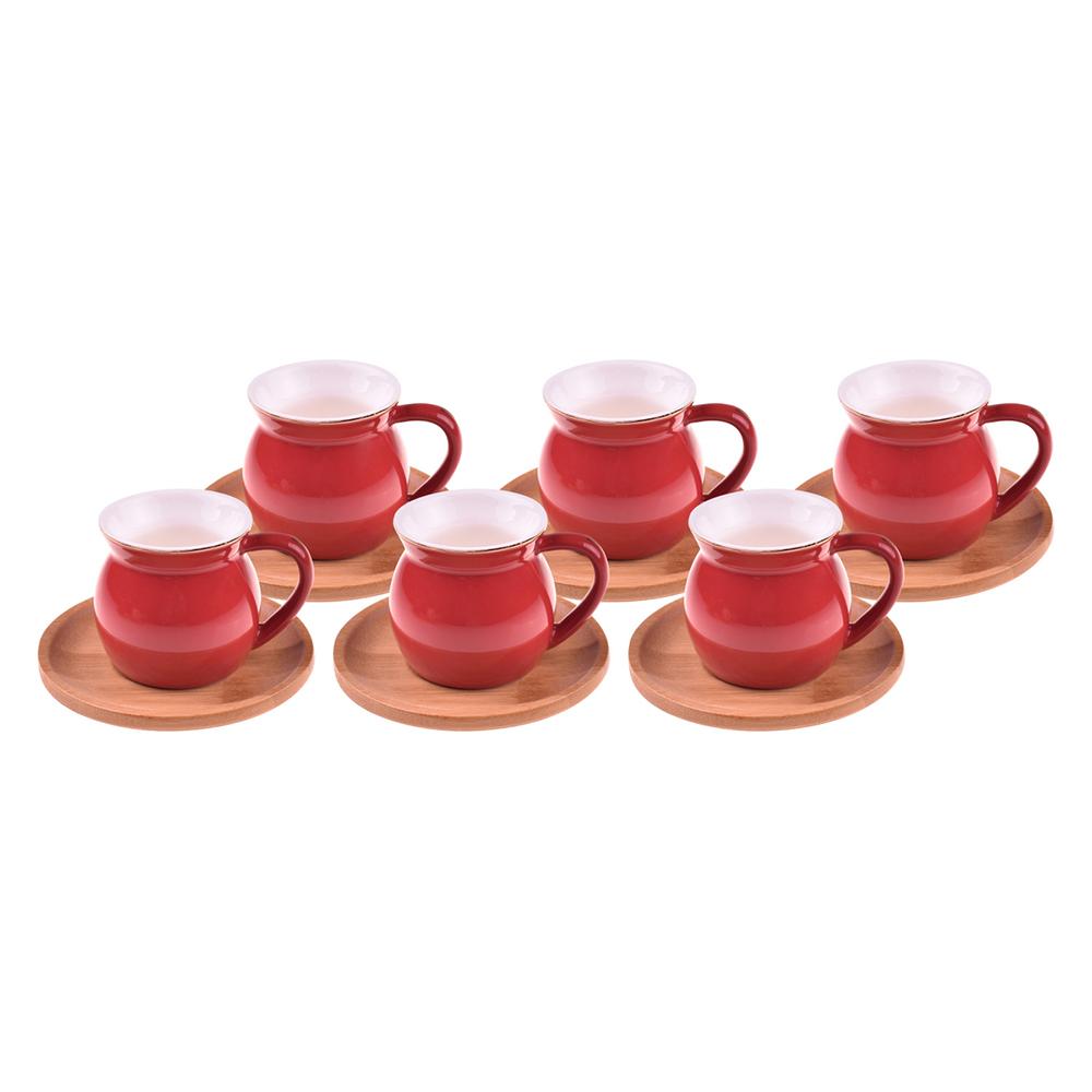 Selam - 6 Kişilik Kahve Fincan Takımı Kırmızı
