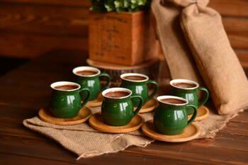 Selam 6 Kişilik Kahve Fincan Takımı - Yakut Bambum - Thumbnail