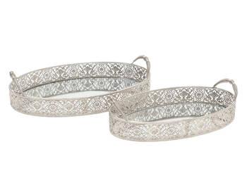 Biev - Aynalı Metal Gümüş 2'li Tepsi Seti - 37x24x10 cm