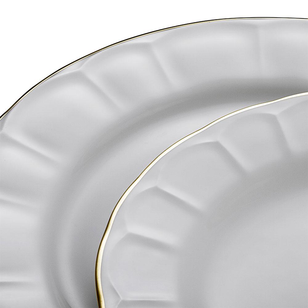Shine 12 Kişilik 59 Parça Bone China Yemek Takımı - Gold
