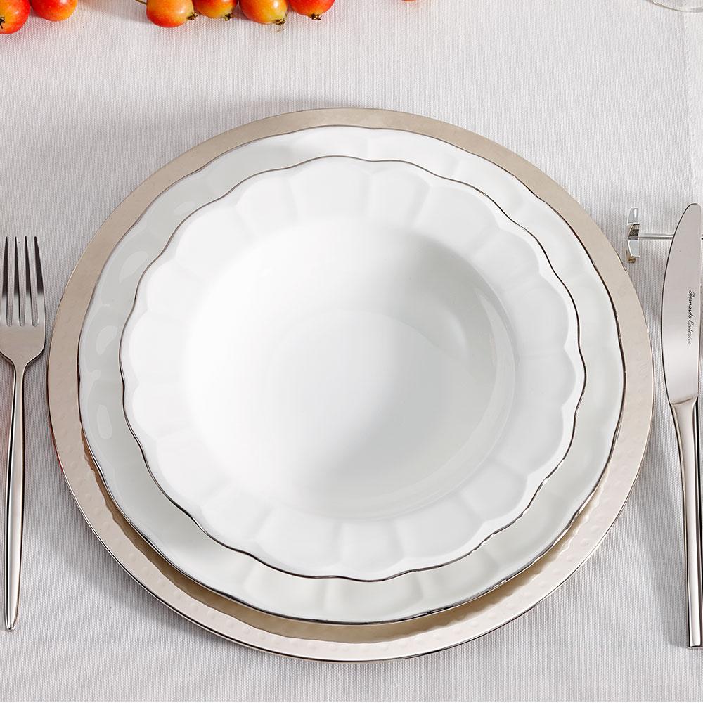 Shine 12 Kişilik 59 Parça Bone China Yemek Takımı - Platin