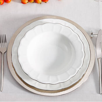Shine 12 Kişilik 59 Parça Bone China Yemek Takımı - Platin - Thumbnail