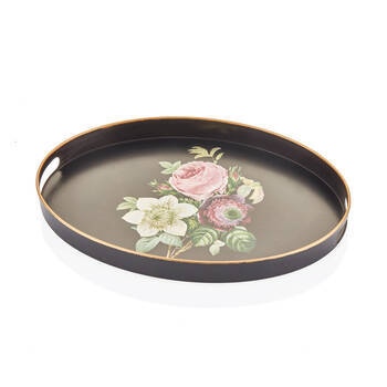 Bernardo - Siyah Çiçek Desenli Oval Tepsi - 43x30 cm