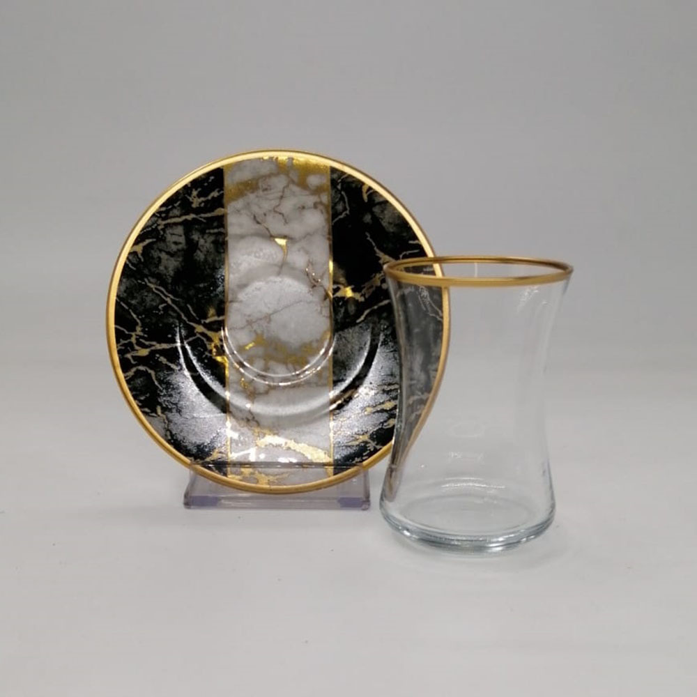 Siyah Mermer Desenli 6 Kişilik 12 Parça Çay Bardak Takımı