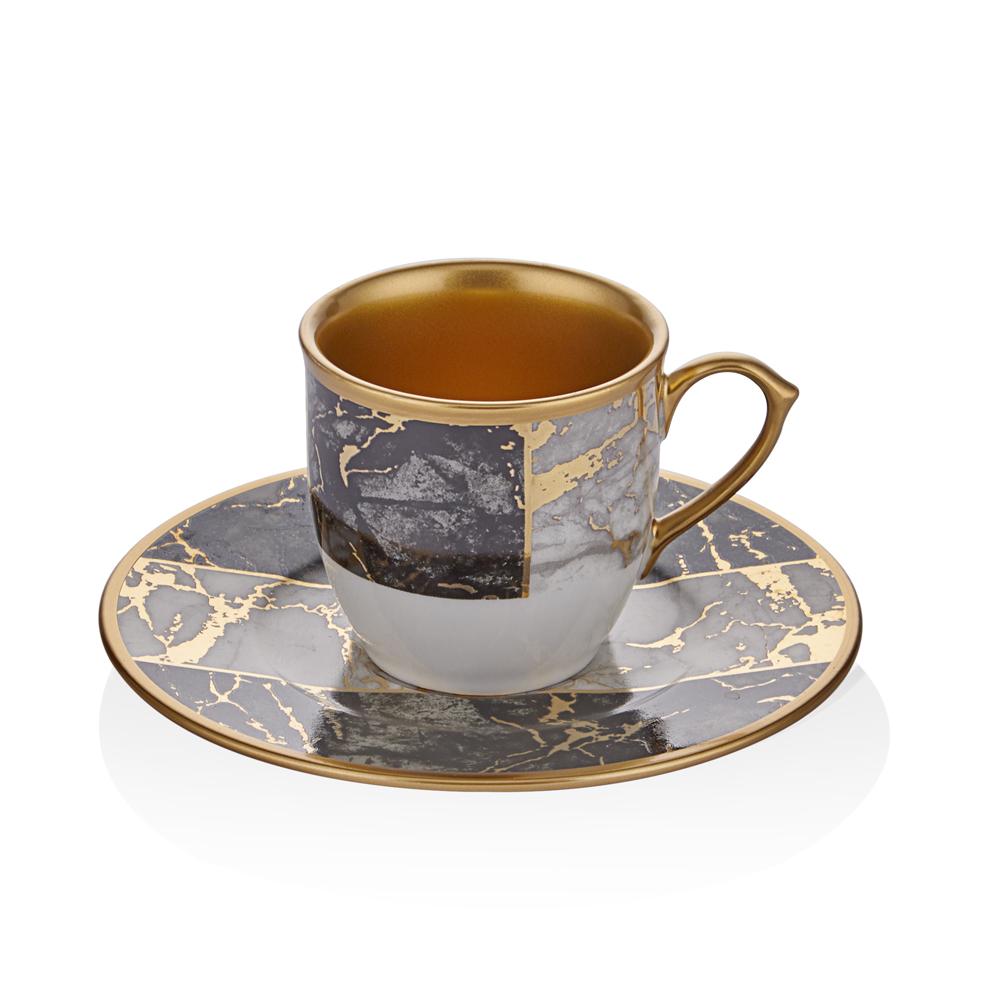 Siyah Mermer Desenli 6 Kişilik 12 Parça Kahve Fincan Takımı