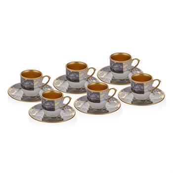 Siyah Mermer Desenli 6 Kişilik 12 Parça Kahve Fincan Takımı - Thumbnail