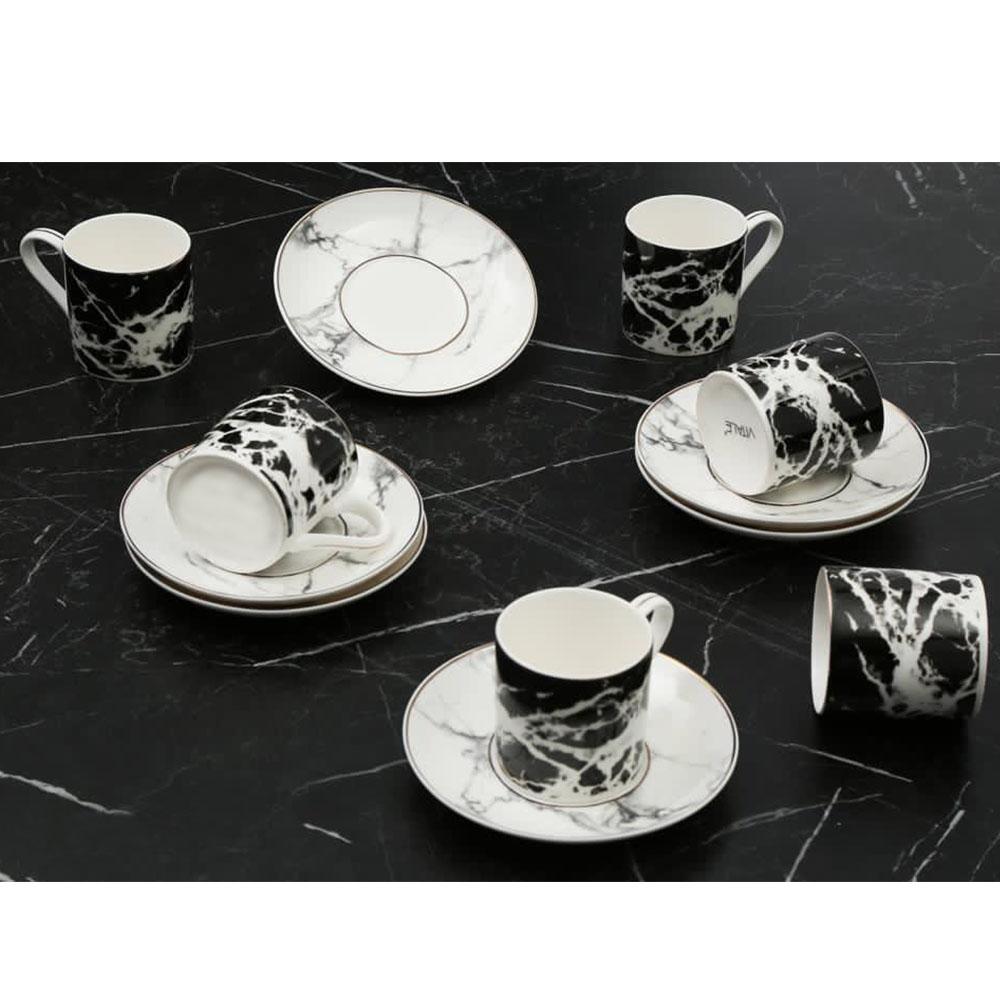 Siyah Mermer Desenli 6 Kişilik Kahve Fincan Takım