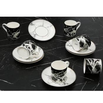- Siyah Mermer Desenli 6 Kişilik Kahve Fincan Takım