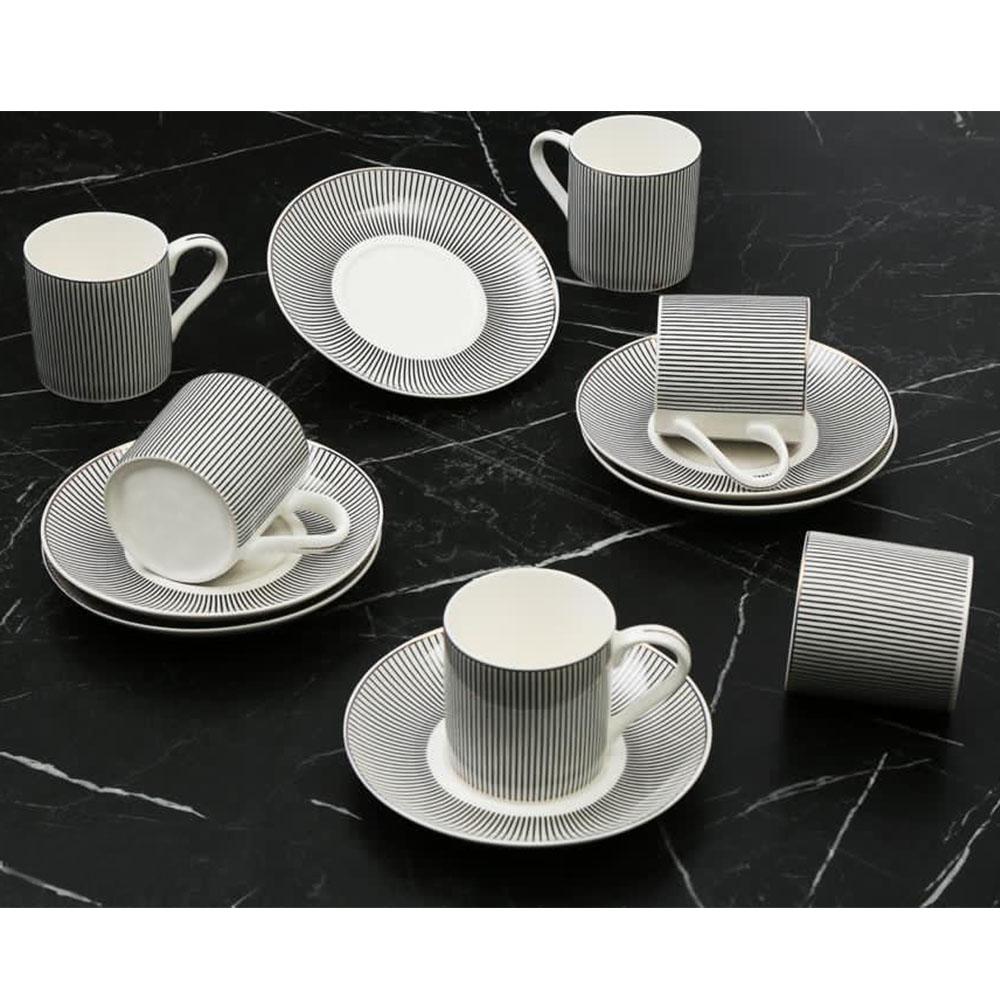 Siyah Ritim 6 Kişilik Kahve Fincan Takım