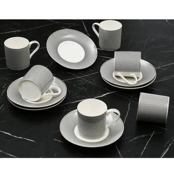 - Siyah Ritim 6 Kişilik Kahve Fincan Takım
