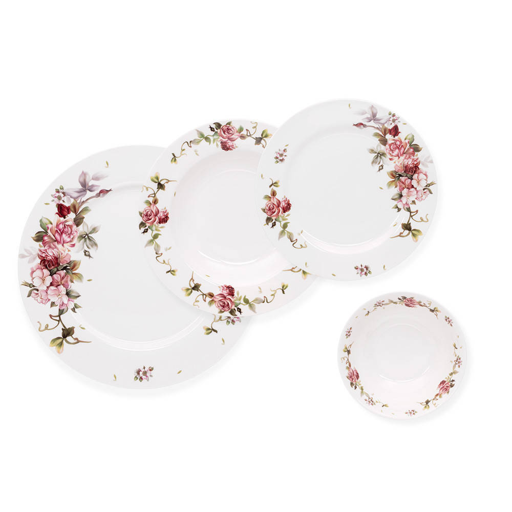 Sponsa 6 Kişilik Çiçek Desenli Porselen Yemek Takımı