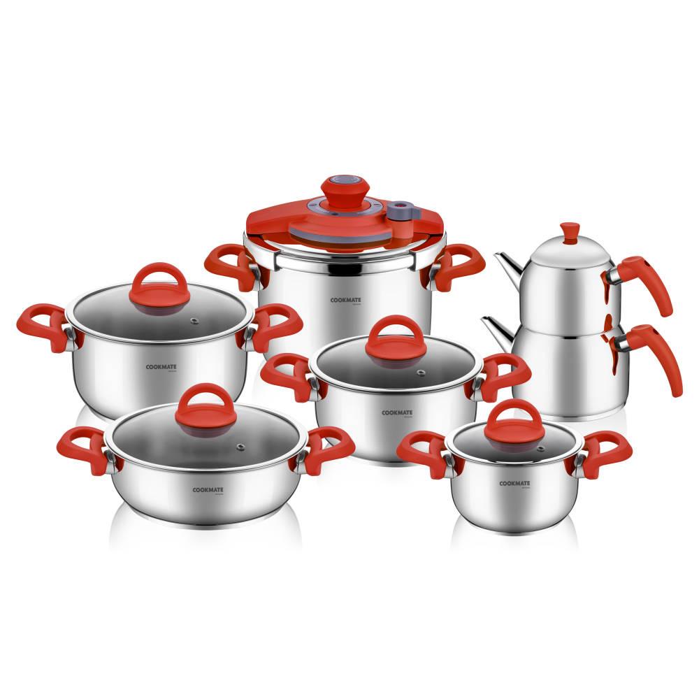 Bernardo Steel 13 Parça Çelik Set Kırmızı