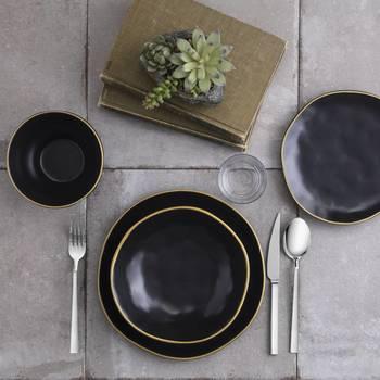 Stern 6 Kişilik 24 Parça Stoneware Yemek Takımı - Siyah - Thumbnail