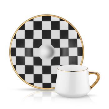 Bernardo - Sufi 6 Kişilik 12 Parça Dama Desenli Kahve Fincanı Takımı