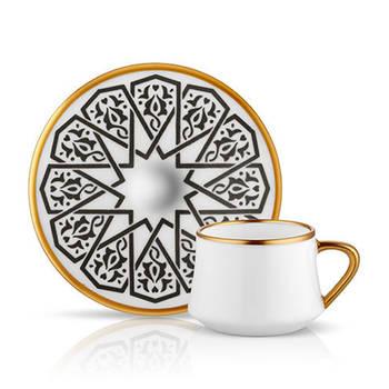 Bernardo - Sufi 6 Kişilik 12 Parça Bone China Kahve Fincanı Takımı