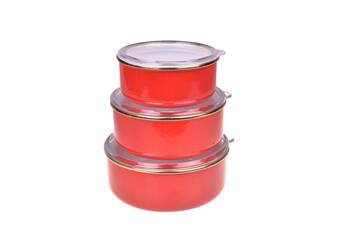 - Sultan 3'lü Saklama Kabı 14-16-18 cm - Kırmızı Bambum