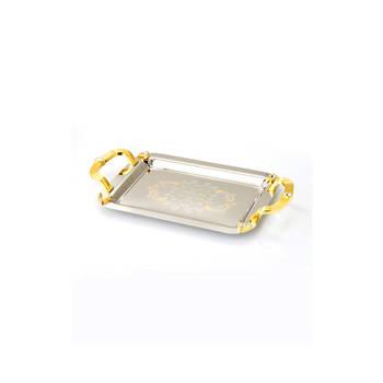 Biev - Gold Kulplu Metal Gümüş Servis Tepsisi - 45X27 cm