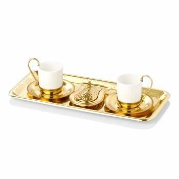 Tepsili İkili Kahve Takımı - Gold - Thumbnail
