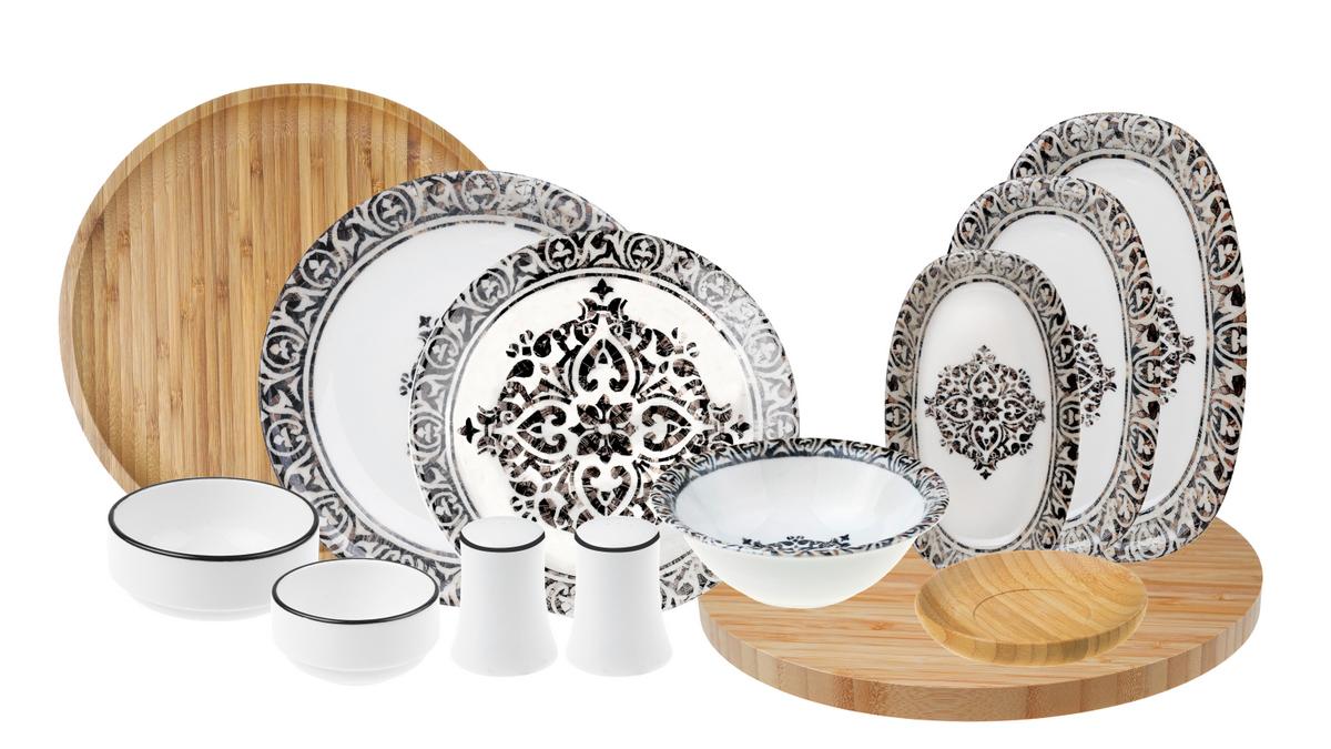Troya - 44 Parça Bambu & Porselen Yemek ve Kahvaltı Takımı