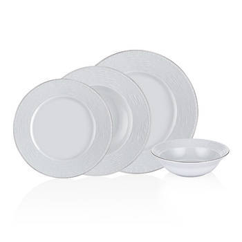 Bernardo - Tuana 6 Kişilik 24 Parça Porselen Yemek Takımı - Platin