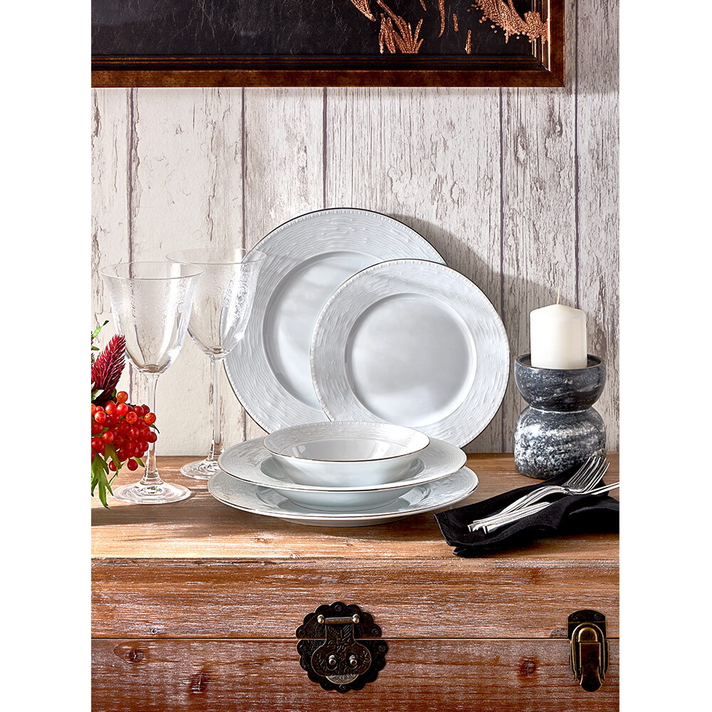 Tuana 6 Kişilik 24 Parça Porselen Yemek Takımı - Platin