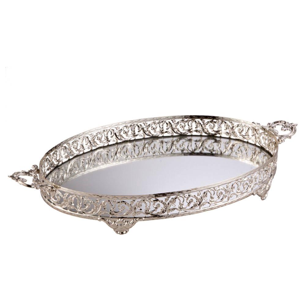 Kulplu Oval Tepsi 46x32 Gümüş