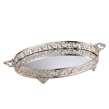 Biev - Kulplu Gümüş Oval Servis Tepsisi - 46x32 cm
