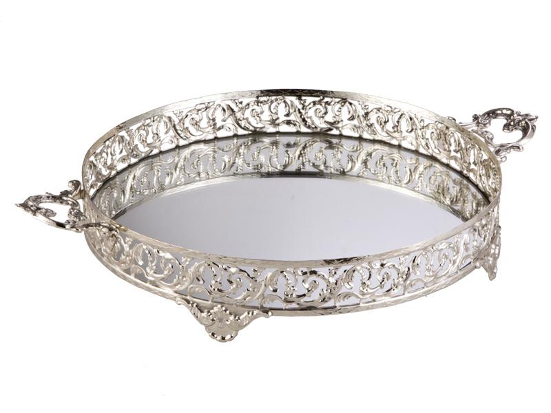 Kulplu Yuvarlak 35 Cm Gümüş Tepsi