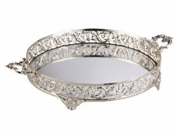 Biev - Kulplu Yuvarlak 35 Cm Gümüş Tepsi