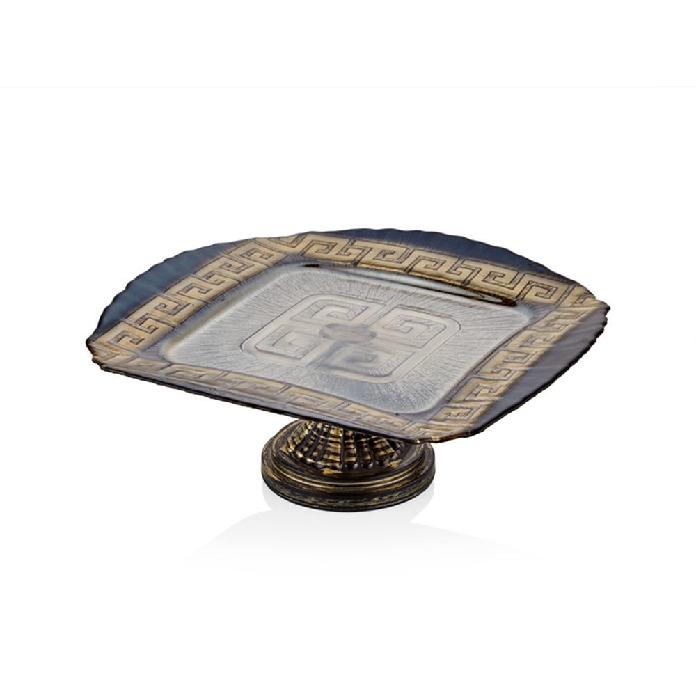 Versace Ayaklı Servis Tabağı - Siyah 34 cm
