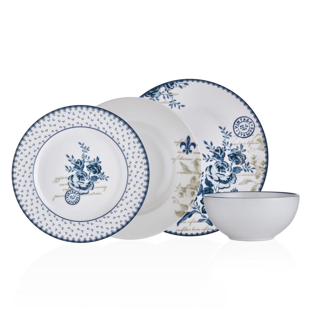 Vintage Blue 6 Kişilik 24 Parça Bone China Yemek Takımı
