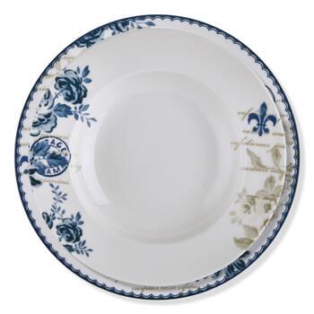 Vintage Blue 6 Kişilik 24 Parça Bone China Yemek Takımı - Thumbnail