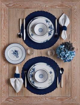 Bernardo - Vintage Blue 6 Kişilik 24 Parça Bone China Yemek Takımı (1)