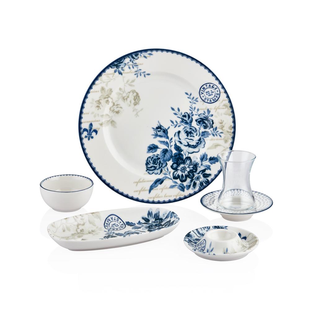 Vintage Blue 6 Kişilik 30 Parça Porselen Kahvaltı Takımı