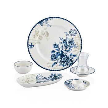 Bernardo - Vintage Blue 6 Kişilik 30 Parça Porselen Kahvaltı Takımı