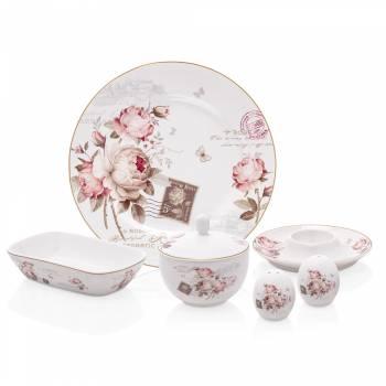 - Vintage Rose 6 Kişilik 21 Parça New Bone China Kahvaltı Takımı