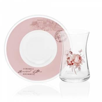 - 6'lı Çay Bardağı-Vintage Rose (1)