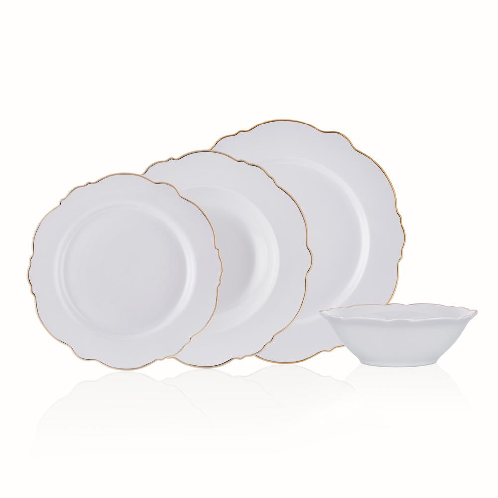 White Daisy 6 Kişilik 24 Parça New Bone China Yemek Takımı - Gold