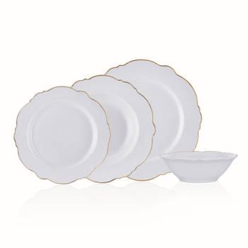 Bernardo - White Daisy 6 Kişilik 24 Parça New Bone China Yemek Takımı - Gold