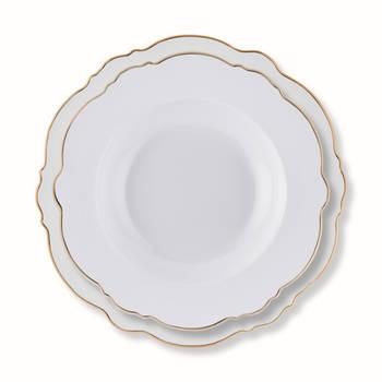 White Daisy 6 Kişilik 24 Parça New Bone China Yemek Takımı - Gold - Thumbnail