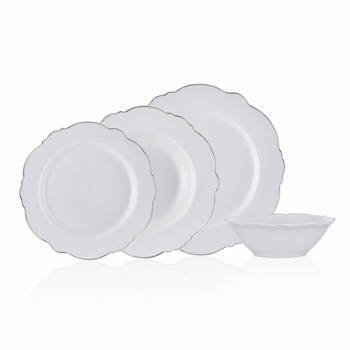 Bernardo - White Daisy 6 Kişilik 24 Parça New Bone China Yemek Takımı - Platin