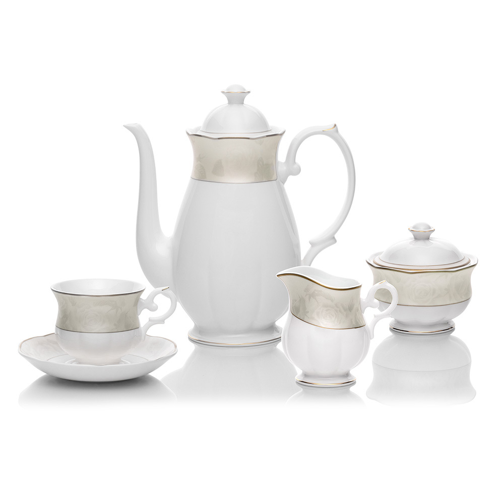 White Rose 29 Parça Royal Bone China Çay Seti