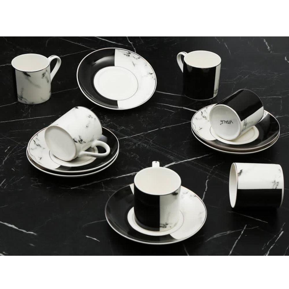 Yarım Siyah-Beyaz Mermer Desenli 6 Kişilik Kahve Fincan Takım