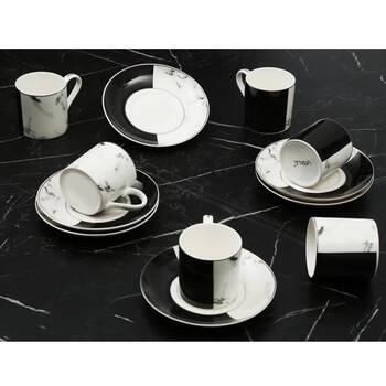 - Yarım Siyah-Beyaz Mermer Desenli 6 Kişilik Kahve Fincan Takım